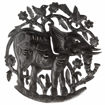 Elephant Metal Plaque