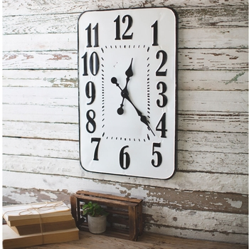 Enamelware Rectangle Wall Clock