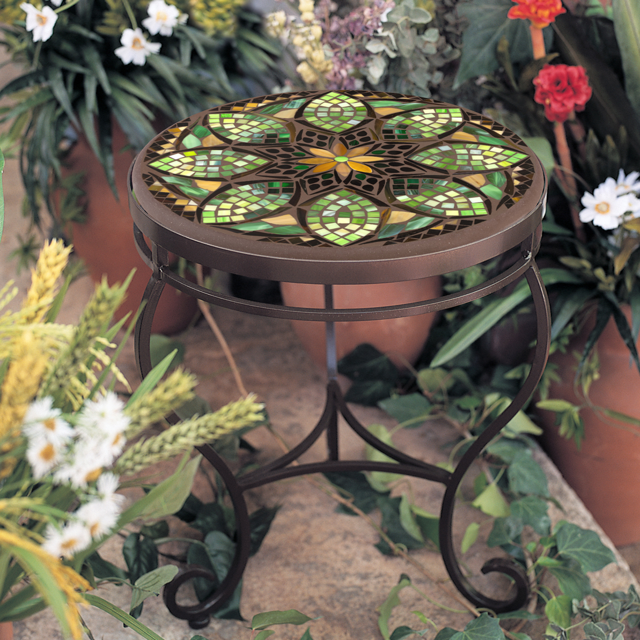 Knf Designs Iron Amp Mosaic End Table 24 Quot Iron Accents