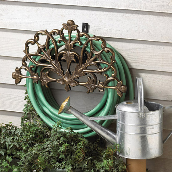 Filigree Wall Mounted Hose Holder Iron Accents