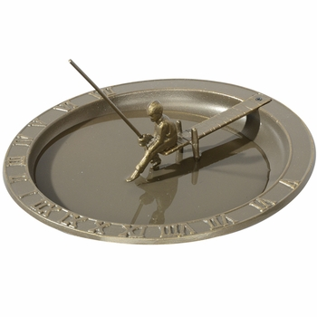 Fisher Boy Sundial Bird Bath