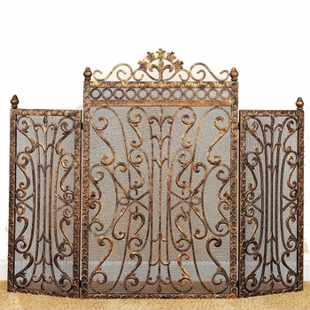 Fleur de Lis Accent Fire Screen