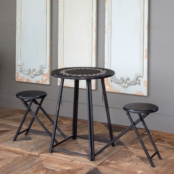 Foldable Bistro Table w/2 Stools