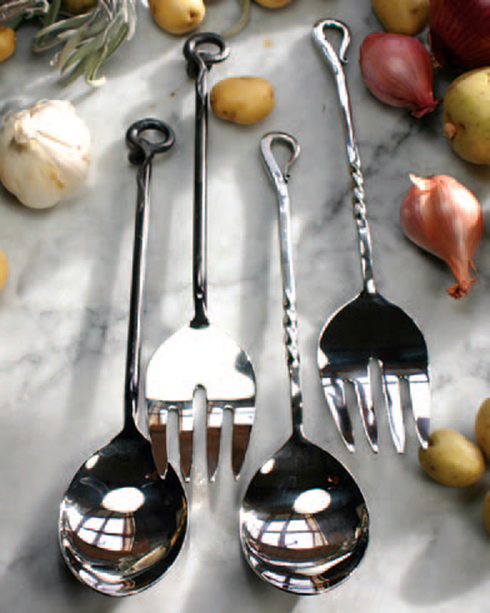 Forged Serving Utensils Set Iron Accents