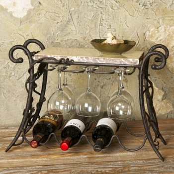 Four Bottle Wine & Glass Rack