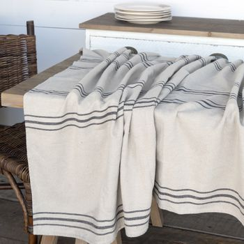 French Stripe Linen Tablecloth