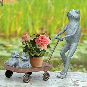 Frog Family Wagon Planter