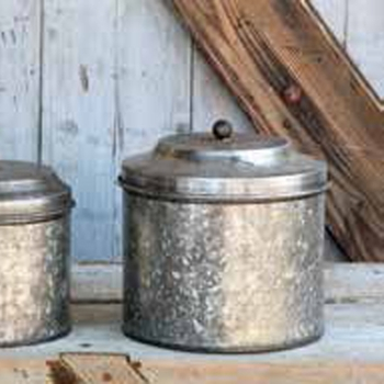 Galvanized Canisters (Set-3)