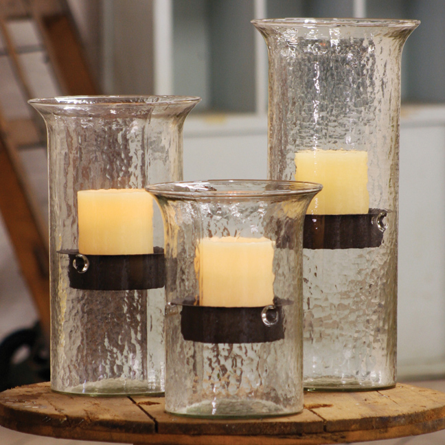 Glass Candle Cylinders W Inserts Iron Accents
