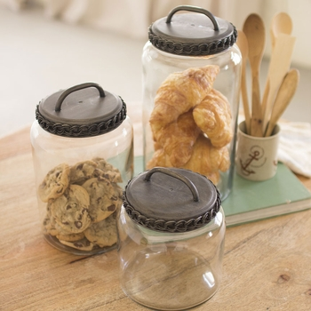 Glass Canisters w/ Antique Lids (Set-3)