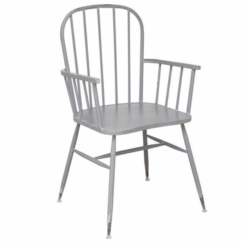 Grey Metal Arm Chairs (Set-2)