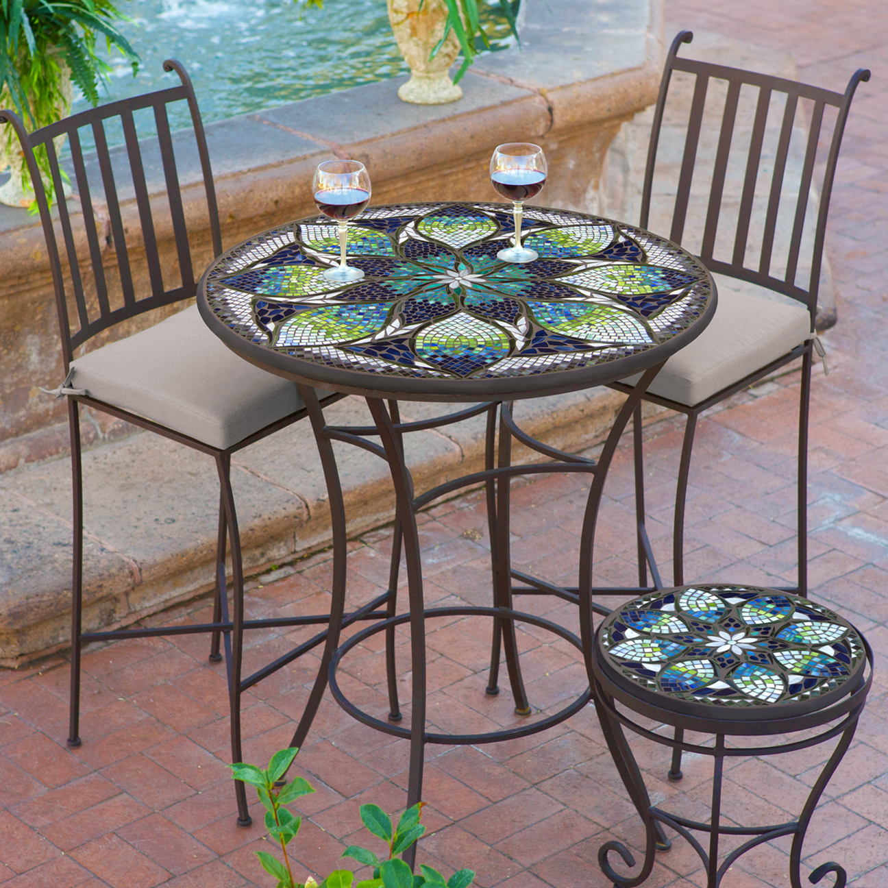 """KNF Designs Mosaic High Dining Table - 36"""" - Iron Accents"""