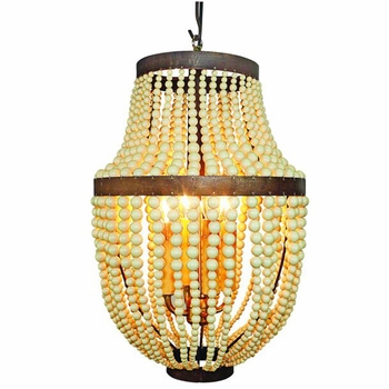 Iron and Creme Bead Chandelier