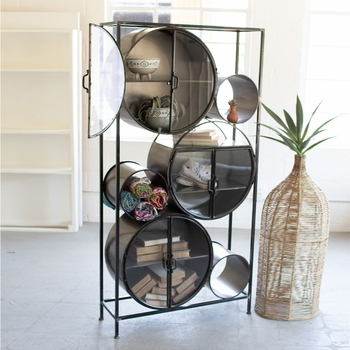 Iron & Glass Circle Storage Unit