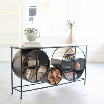 Iron & Glass Circles Console