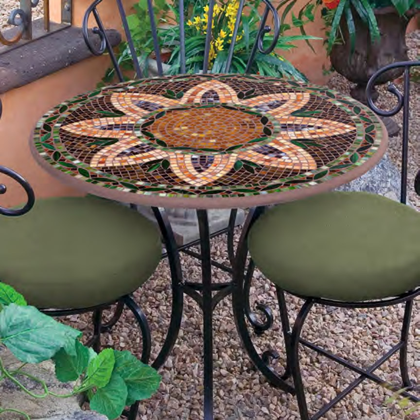 Knf Designs 30 Quot Mosaic Bistro Set For 2 Iron Accents