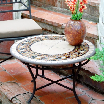 Iron & Mosaic Coffee Table - 30""