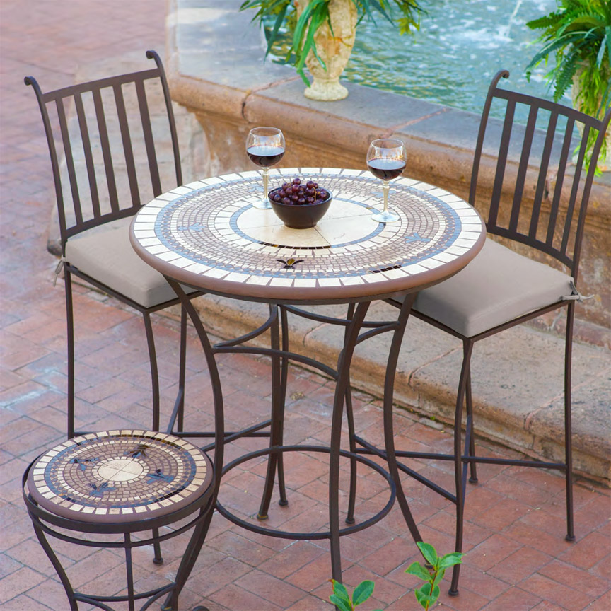 Knf Designs 36 Quot Mosaic High Dining Set For 4 Iron Accents