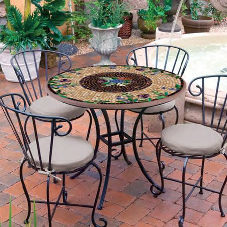Knf Designs 36 Quot Mosaic Patio Set For 4 Iron Accents