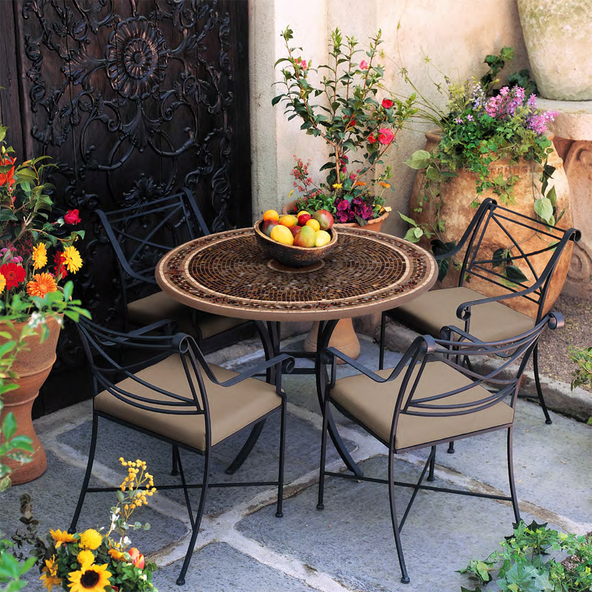 Knf Designs 42 Quot Mosaic Patio Set For 4 Iron Accents