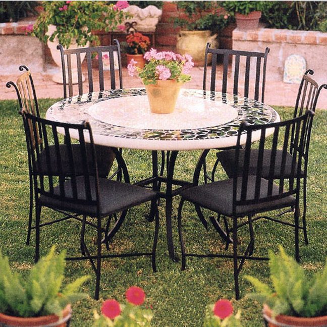 Knf Designs 54 Quot Mosaic Patio Set For 6 Iron Accents