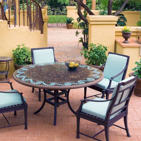 Knf Designs 60 Quot Mosaic Patio Set For 6 Iron Accents