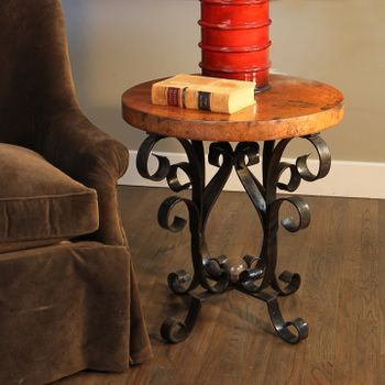 Iron Scroll Accent Table w/ Top