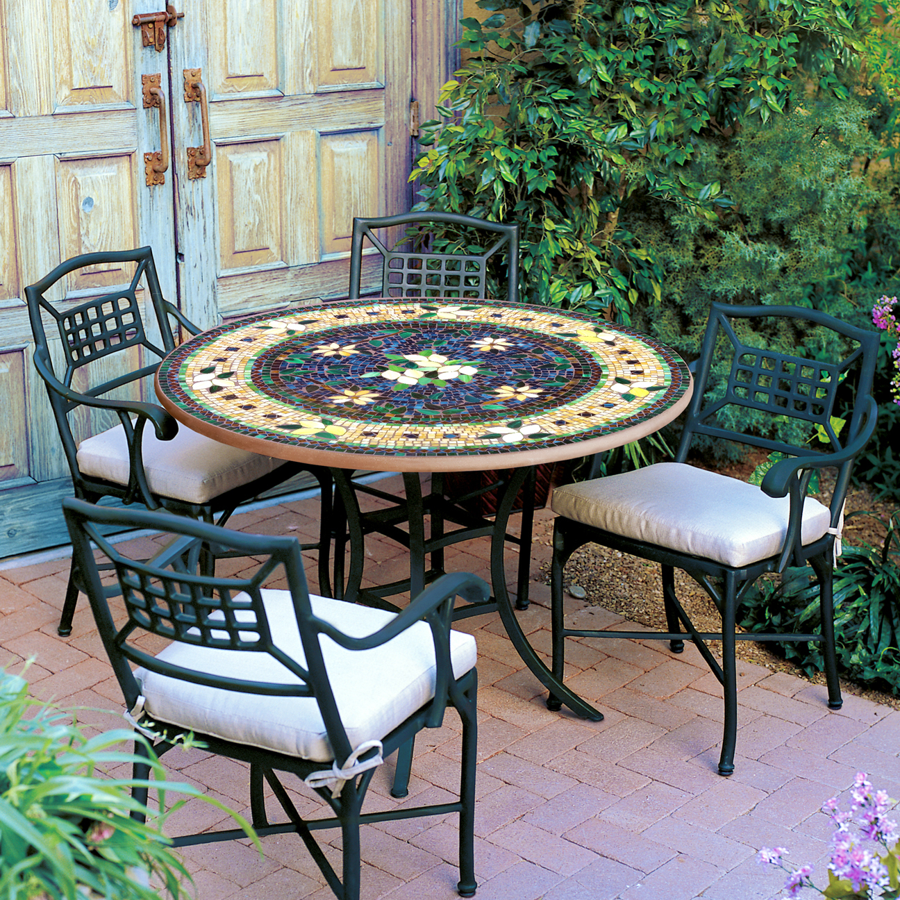 """KNF Designs Iron & Mosaic Patio Table - 54"""" - Iron Accents on Outdoor Living Iron Mosaic id=23829"""