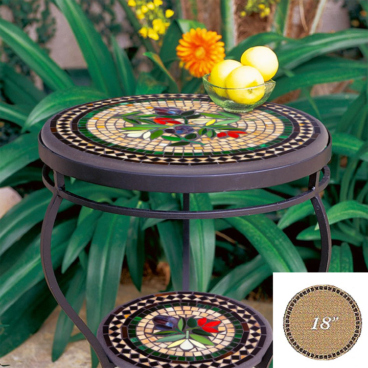 Knf Designs Mosaic Table Top 18 Quot Round Iron Accents