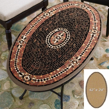 """Mosaic Table Top - 42"""" x 24"""" Oval"""