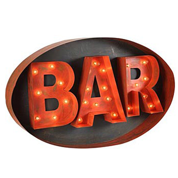 Lighted Bar Sign - Iron Accents
