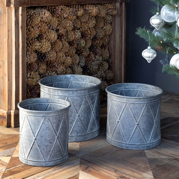 Metal Drum Planters (Set-3)