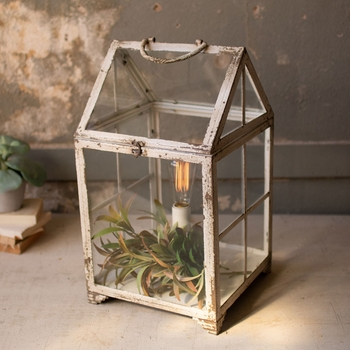 Metal & Glass Terrarium Lamp