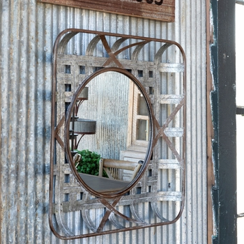 Small Metal Tobacco Basket Mirror