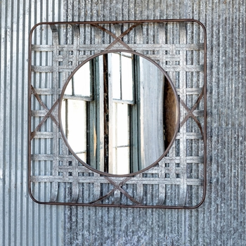 Large Metal Tobacco Basket Mirror