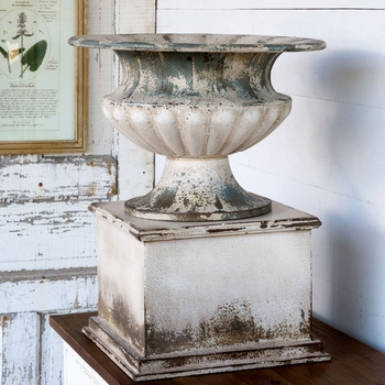 Metal Urn and Pedestal