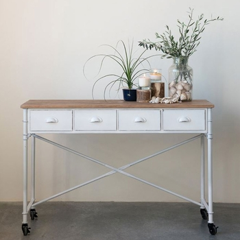Metal & Wood Table on Casters