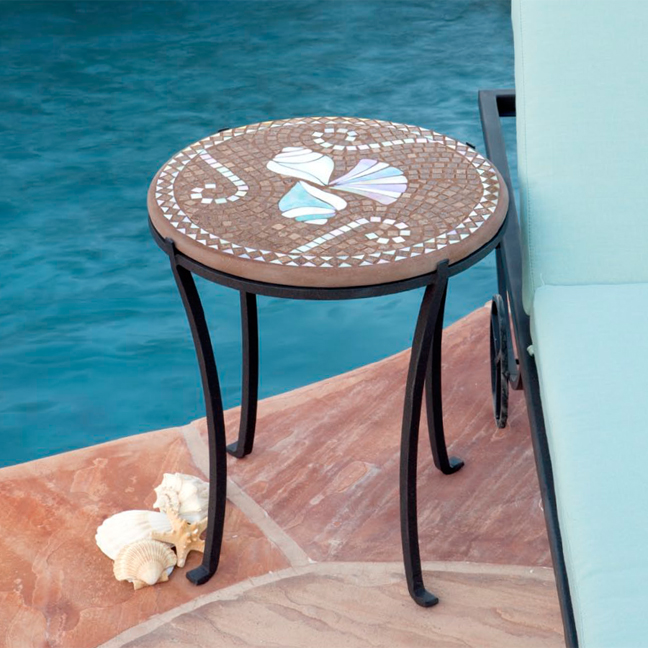Knf Designs Mosaic Chaise Table Round Iron Accents