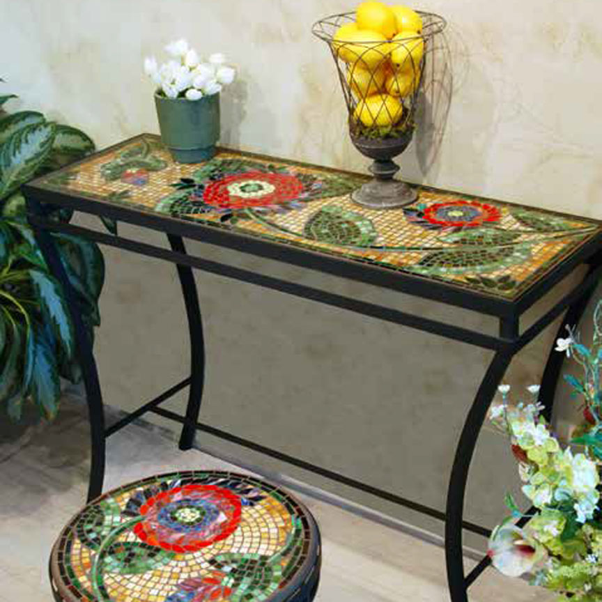 Knf Designs Iron Amp Mosaic Console Table 48 Quot Iron Accents