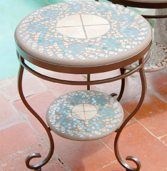 Knf Designs Mosaic Double Side Table 18 Quot Iron Accents