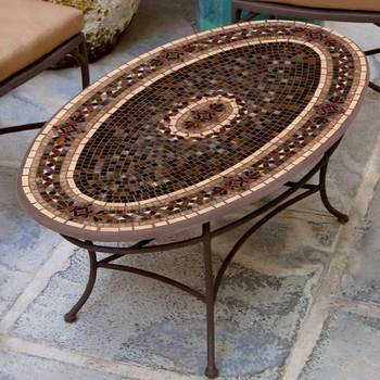 Mosaic Oval Coffee Table - 54x32