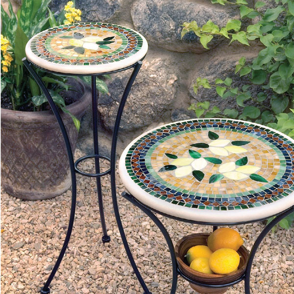 """KNF Designs Iron & Mosaic Plant Stand - 12"""" - Iron Accents on Outdoor Living Iron Mosaic id=61330"""