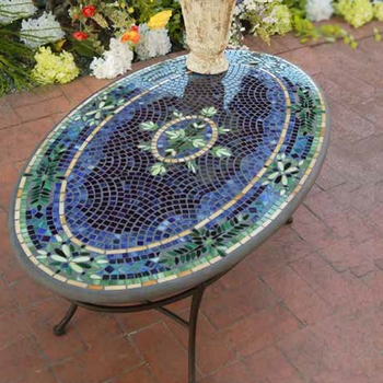 Mosaic Oval Chat Table - 54""