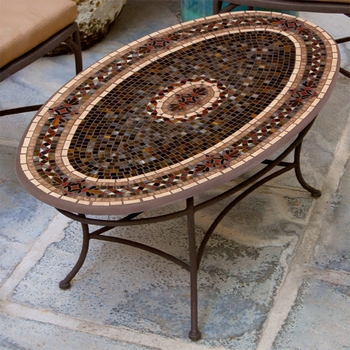 Mosaic Oval Chat Table - 42""