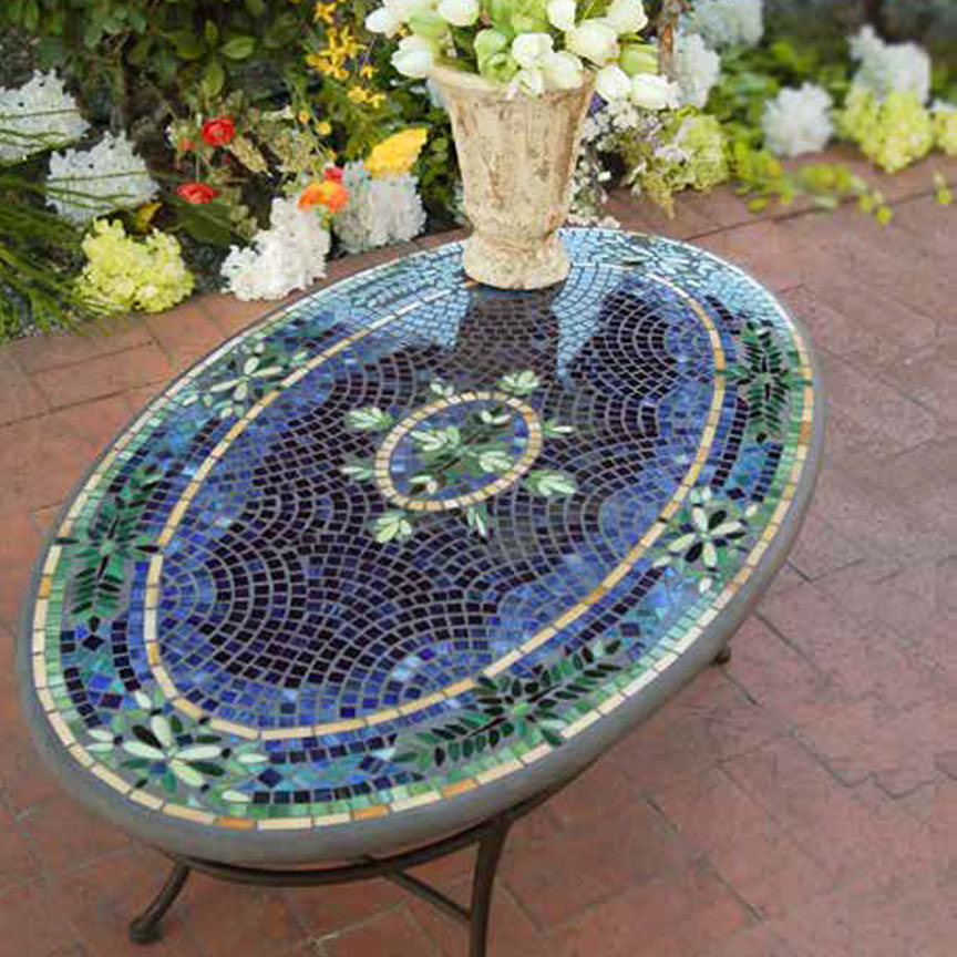 Knf Designs Mosaic Oval Coffee Table 42x24 Iron Accents