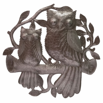 Owls on a Branch Plaque