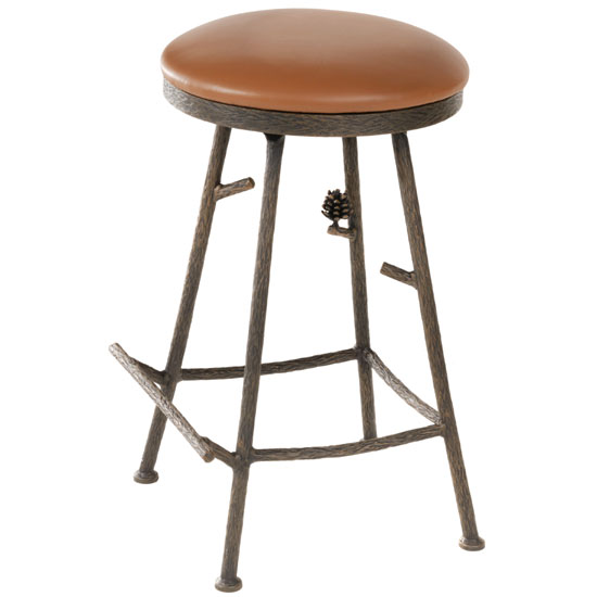 Stone County Pine Backless Bar Stool Iron Accents