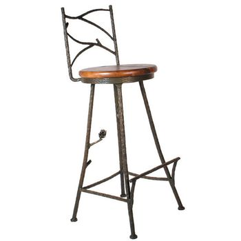 Pine Wrought Iron Bar Stool