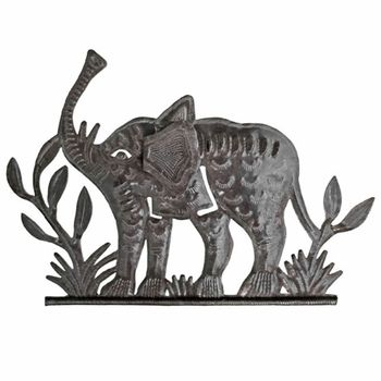 Playful Elephant Metal Plaque