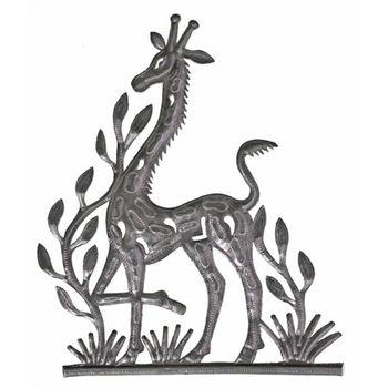 Playful Giraffe Metal Plaque